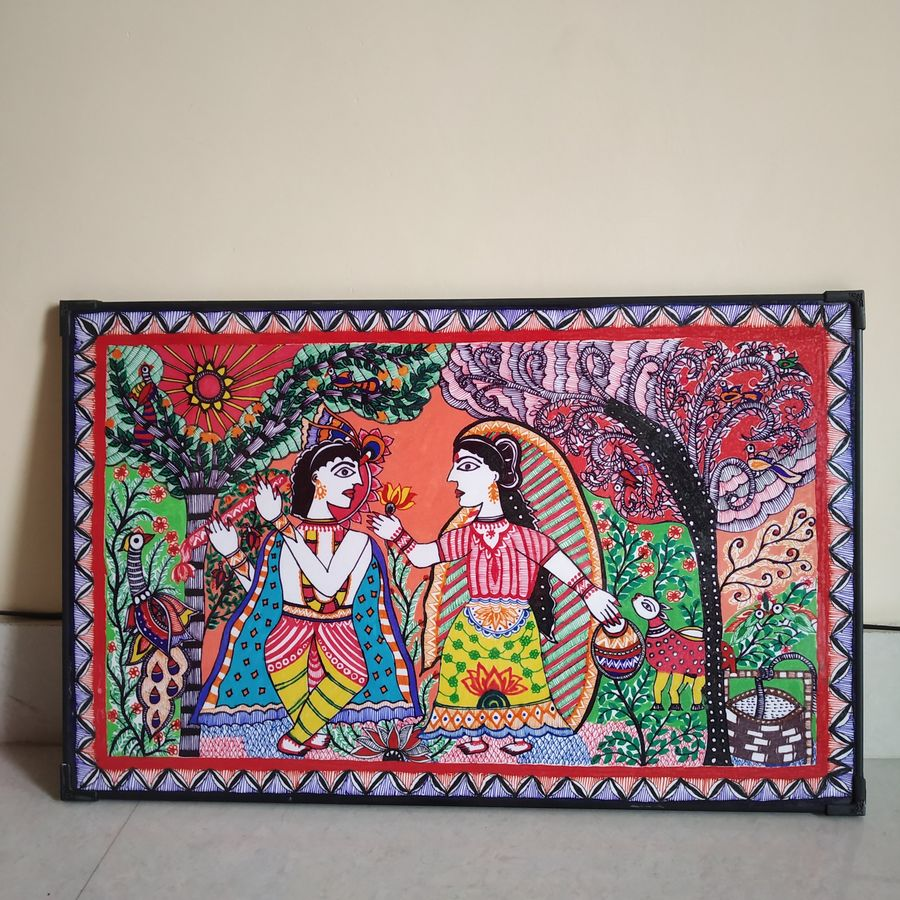 radha krishna, 22 x 14 inch, sudha lekh,22x14inch,thick paper,drawings,folk drawings,paintings for dining room,paintings for living room,paintings for bedroom,paintings for hotel,paintings for school,pen color,pencil color,poster color,watercolor,ball point pen,GAL02307234995
