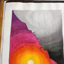 the two faces of life, 11 x 18 inch, manya sharma,11x18inch,drawing paper,paintings,abstract paintings,modern art paintings,conceptual paintings,abstract expressionism paintings,expressionism paintings,minimalist paintings,pen color,poster color,watercolor,paper,GAL02310734999