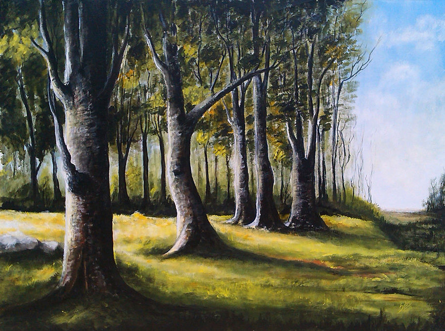 the trees, 42 x 32 inch, seby augustine,landscape paintings,paintings for dining room,canvas,acrylic color,42x32inch,GAL0150350