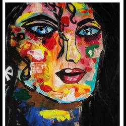 women pop art, 15 x 20 inch, arpita  gupta,15x20inch,canvas,paintings,abstract paintings,modern art paintings,abstract expressionism paintings,paintings for living room,paintings for bedroom,paintings for bathroom,paintings for hotel,acrylic color,GAL02331235010