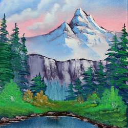 mountain serenity, 12 x 17 inch, swapnil jadhav,12x17inch,canvas,paintings,landscape paintings,nature paintings | scenery paintings,paintings for dining room,paintings for living room,paintings for bedroom,paintings for office,paintings for hotel,paintings for kitchen,paintings for hospital,oil color,GAL02304435015