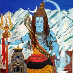 pressence of mahadev near kedarnath temple, 24 x 36 inch, nikhil singh rawat,24x36inch,canvas board,paintings,religious paintings,paintings for living room,paintings for office,paintings for hotel,paintings for school,paintings for hospital,acrylic color,GAL02338635016