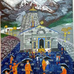 rainy day at kedarnath temple, 24 x 30 inch, nikhil singh rawat,24x30inch,canvas board,paintings,landscape paintings,religious paintings,paintings for living room,paintings for office,paintings for hotel,paintings for school,paintings for hospital,acrylic color,GAL02338635019