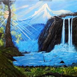 landscape  - nature1, 36 x 24 inch, indhuja raghavan,landscape paintings,paintings for living room,nature paintings,canvas board,acrylic color,36x24inch,GAL01103502Nature,environment,Beauty,scenery,greenery,beautiful,sunrise,sun,water,river,lake,clouds,trees,leaves,flowers,waterfall,sun-rays