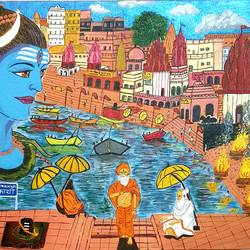 varanasi mahadevs favorite destination , 20 x 24 inch, nikhil singh rawat,20x24inch,canvas board,paintings,religious paintings,paintings for living room,paintings for office,paintings for hotel,paintings for school,paintings for hospital,acrylic color,GAL02338635020