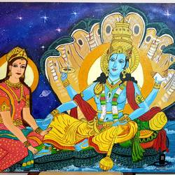 lord vishnu and lakhshmi ji relaxing at vaikuntha, 24 x 30 inch, nikhil singh rawat,24x30inch,canvas board,paintings,religious paintings,paintings for living room,paintings for office,paintings for hotel,paintings for school,acrylic color,GAL02338635022