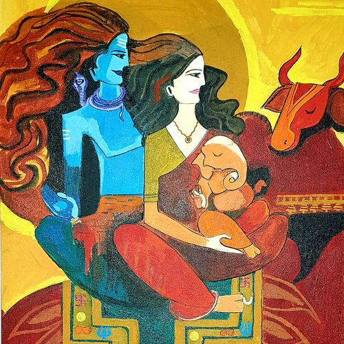 lord shiva with family, 18 x 24 inch, nikhil singh rawat,18x24inch,canvas board,religious paintings,paintings for living room,paintings for office,paintings for hotel,paintings for school,paintings for hospital,paintings for living room,paintings for office,paintings for hotel,paintings for school,paintings for hospital,acrylic color,GAL02338635023