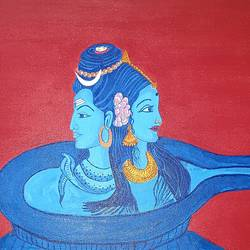 shiv parvati on shiv ling, 18 x 24 inch, nikhil singh rawat,18x24inch,canvas board,paintings,religious paintings,paintings for living room,paintings for office,paintings for kids room,paintings for hotel,paintings for school,paintings for hospital,acrylic color,GAL02338635024