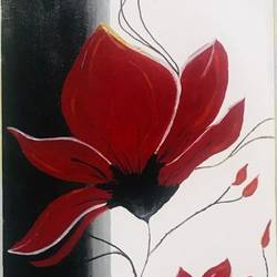 still life flower painting, 12 x 24 inch, smrithi balki,12x24inch,canvas board,paintings,flower paintings,paintings for living room,paintings for bedroom,paintings for office,paintings for hotel,enamel color,GAL02339035029