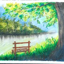 lake view, 14 x 11 inch, nayan pal,14x11inch,paper,paintings,nature paintings | scenery paintings,paintings for living room,pastel color,GAL02339935037