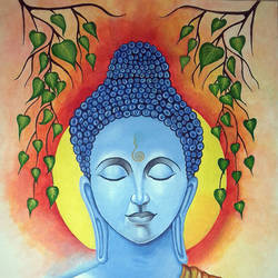 buddha with meditation, 19 x 28 inch, ravi borade,buddha paintings,paintings for living room,religious paintings,canvas,acrylic color,19x28inch,religious,peace,meditation,meditating,gautam,goutam,buddha,blue,leafs,praying,GAL012433504