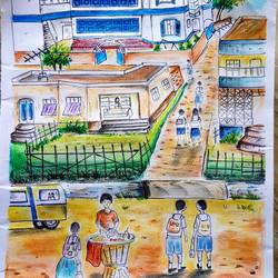 school days, 11 x 14 inch, nayan pal,11x14inch,paper,realistic paintings,paintings for school,paintings for school,pastel color,GAL02339935042