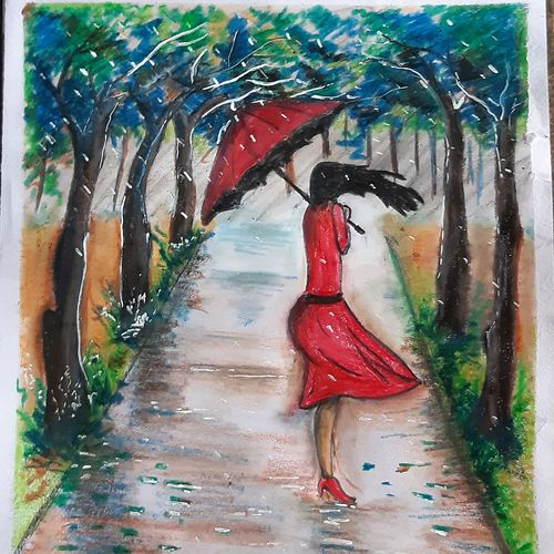in the rain, 11 x 14 inch, nayan pal,11x14inch,paper,paintings,nature paintings | scenery paintings,paintings for living room,pastel color,GAL02339935043