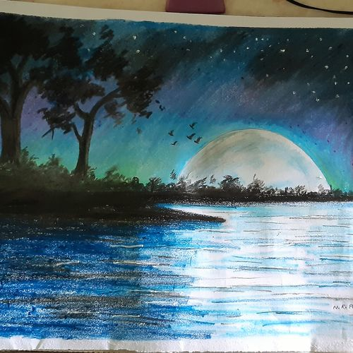 moonlight night, 14 x 11 inch, nayan pal,14x11inch,paper,paintings,nature paintings | scenery paintings,paintings for living room,pastel color,GAL02339935044