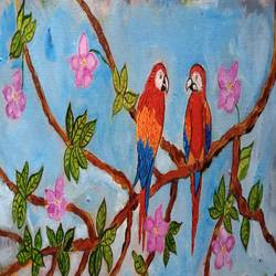 the birds, 16 x 7 inch, abhik mahanti,16x7inch,canvas,paintings,wildlife paintings,nature paintings | scenery paintings,acrylic color,GAL0404435047