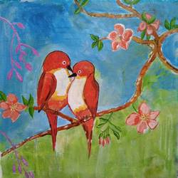 the birds, 16 x 16 inch, abhik mahanti,16x16inch,canvas,paintings,wildlife paintings,flower paintings,nature paintings | scenery paintings,paintings for dining room,paintings for living room,paintings for bedroom,paintings for office,paintings for kids room,acrylic color,GAL0404435049
