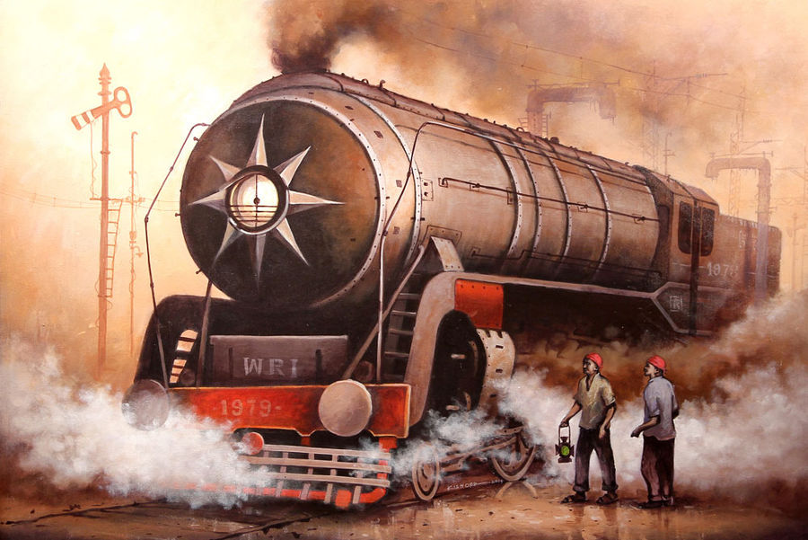 locomotives 14, 57 x 39 inch, kishore pratim biswas,impressionist paintings,paintings for office,canvas,acrylic color,57x39inch,GAL010603505