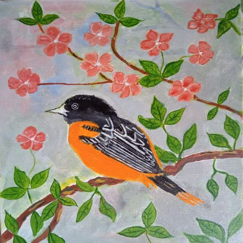 the bird on the tree, 8 x 10 inch, abhik mahanti,8x10inch,canvas,paintings,wildlife paintings,nature paintings | scenery paintings,paintings for dining room,paintings for living room,paintings for bedroom,paintings for office,paintings for kids room,acrylic color,GAL0404435051