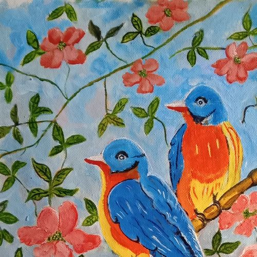 the bird on the tree, 16 x 12 inch, abhik mahanti,16x12inch,canvas,paintings,wildlife paintings,flower paintings,nature paintings | scenery paintings,paintings for dining room,paintings for living room,paintings for office,acrylic color,GAL0404435052