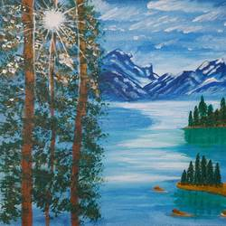 himalayan mountain , 16 x 12 inch, pooja katharotia,16x12inch,canvas board,landscape paintings,nature paintings | scenery paintings,paintings for living room,paintings for office,paintings for living room,paintings for office,acrylic color,GAL02340535054