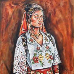albanian girl , 47 x 39 inch, saranda xhemajli,47x39inch,canvas,paintings,figurative paintings,paintings for dining room,paintings for living room,paintings for hotel,oil color,GAL0797535055