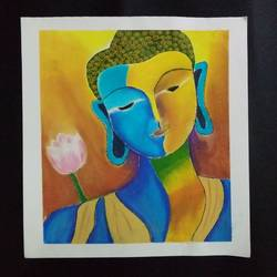 It is a painting of 'Lord Buddha' made on a drawing sheet with soft pastels.