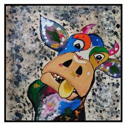 a funny cow , 24 x 21 inch, arpita  gupta,24x21inch,canvas,paintings,abstract paintings,abstract expressionism paintings,art deco paintings,animal paintings,paintings for dining room,paintings for living room,paintings for office,paintings for kids room,paintings for hotel,paintings for school,acrylic color,GAL02331235057