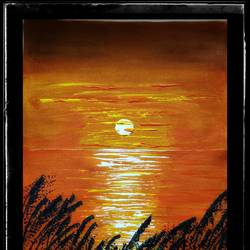 sunset painting, 16 x 22 inch, arpita  gupta,16x22inch,canvas,paintings,abstract paintings,landscape paintings,nature paintings | scenery paintings,art deco paintings,paintings for dining room,paintings for living room,paintings for bedroom,paintings for kids room,paintings for hotel,paintings for kitchen,paintings for school,paintings for hospital,acrylic color,GAL02331235062
