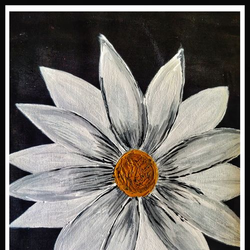 white sun flower, 22 x 17 inch, arpita  gupta,22x17inch,canvas,paintings,abstract paintings,flower paintings,nature paintings | scenery paintings,abstract expressionism paintings,paintings for dining room,paintings for living room,paintings for bedroom,paintings for office,paintings for bathroom,paintings for kids room,paintings for hotel,paintings for kitchen,paintings for school,paintings for hospital,acrylic color,GAL02331235063