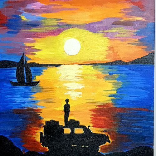 travel desire, 18 x 24 inch, nikhil singh rawat,18x24inch,canvas board,paintings,landscape paintings,paintings for dining room,paintings for living room,paintings for bedroom,paintings for office,paintings for kids room,paintings for hotel,paintings for school,paintings for hospital,acrylic color,GAL02338635065