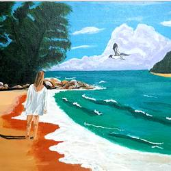 girl on the beach, 20 x 24 inch, nikhil singh rawat,20x24inch,canvas board,landscape paintings,paintings for dining room,paintings for living room,paintings for bedroom,paintings for office,paintings for hotel,paintings for school,paintings for hospital,paintings for dining room,paintings for living room,paintings for bedroom,paintings for office,paintings for hotel,paintings for school,paintings for hospital,acrylic color,GAL02338635067