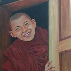 a young tinetian monk, 24 x 36 inch, shankha mitra,24x36inch,canvas,figurative paintings,portrait paintings,paintings for dining room,paintings for living room,paintings for bedroom,paintings for office,paintings for hotel,paintings for school,paintings for hospital,paintings for dining room,paintings for living room,paintings for bedroom,paintings for office,paintings for hotel,paintings for school,paintings for hospital,acrylic color,GAL02246935071