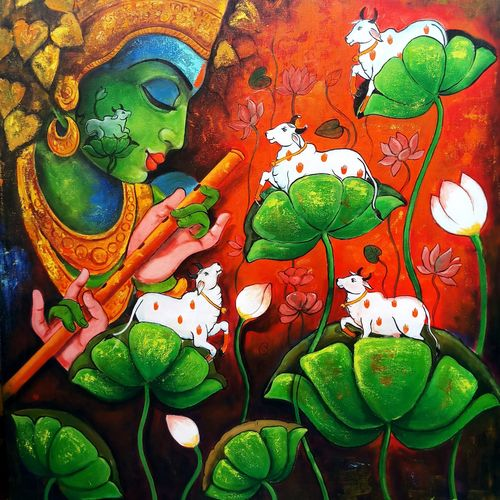 loving tune, 36 x 42 inch, arjun das,36x42inch,canvas,paintings,religious paintings,radha krishna paintings,love paintings,paintings for dining room,paintings for office,paintings for hotel,acrylic color,GAL011235079