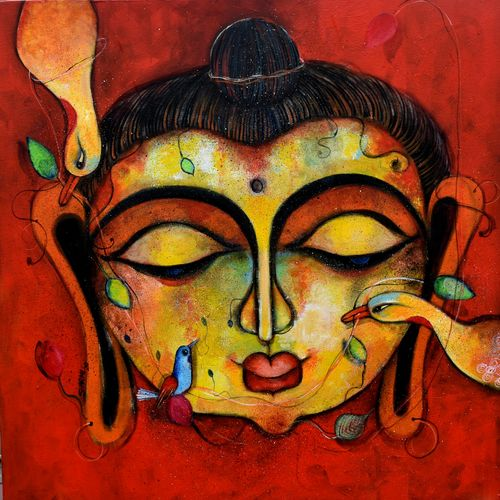 bodhi, 24 x 24 inch, sharmi dey,24x24inch,canvas,paintings,abstract paintings,buddha paintings,figurative paintings,religious paintings,paintings for dining room,paintings for living room,paintings for bedroom,paintings for office,paintings for kids room,paintings for hotel,paintings for kitchen,paintings for school,paintings for hospital,acrylic color,GAL02215735084