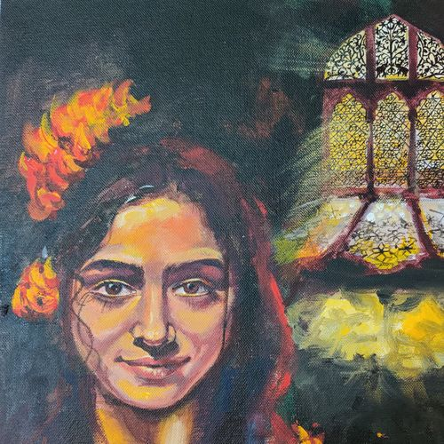 muse 2, 12 x 16 inch, kaushik nandi,12x16inch,canvas,paintings,contemporary paintings,paintings for living room,acrylic color,GAL02332735088