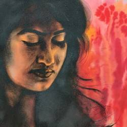 stree 2, 16 x 12 inch, kaushik nandi,16x12inch,thick paper,paintings,figurative paintings,paintings for living room,charcoal,photo ink,GAL02332735093
