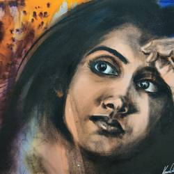stree 3, 16 x 12 inch, kaushik nandi,16x12inch,thick paper,paintings,conceptual paintings,portraiture,paintings for living room,charcoal,photo ink,GAL02332735094