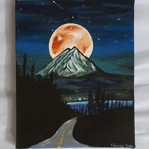 night view , 8 x 10 inch, priyanka patel,8x10inch,canvas,paintings,abstract paintings,cityscape paintings,landscape paintings,nature paintings | scenery paintings,illustration paintings,paintings for dining room,paintings for living room,paintings for bedroom,paintings for office,paintings for kids room,paintings for hotel,paintings for kitchen,paintings for school,paintings for hospital,acrylic color,GAL02169035097