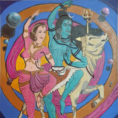 lord shiva and parvati dancing, 24 x 30 inch, nikhil singh rawat,24x30inch,canvas board,paintings,religious paintings,paintings for living room,paintings for office,paintings for hotel,paintings for school,acrylic color,GAL02338635100