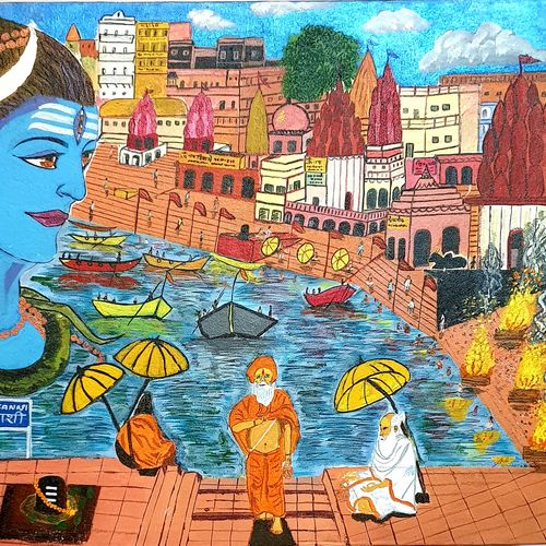 lord shiva at varanasi , 20 x 24 inch, nikhil singh rawat,20x24inch,canvas board,paintings,religious paintings,paintings for living room,paintings for office,paintings for hotel,paintings for school,paintings for hospital,acrylic color,GAL02338635102