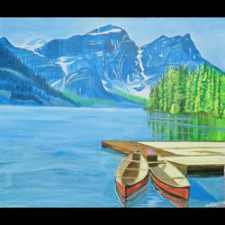 the lake, 17 x 14 inch, monica bhagwat,17x14inch,canvas,landscape paintings,nature paintings | scenery paintings,realistic paintings,acrylic color,GAL02155935105