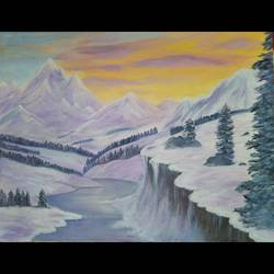 snowy mountains, 18 x 14 inch, monica bhagwat,18x14inch,canvas,paintings,landscape paintings,nature paintings | scenery paintings,acrylic color,GAL02155935106