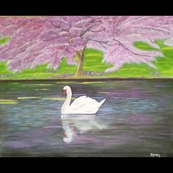 swan painting, 18 x 15 inch, monica bhagwat,18x15inch,canvas,paintings,nature paintings | scenery paintings,acrylic color,GAL02155935108