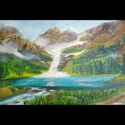 misty mountains, 18 x 13 inch, monica bhagwat,18x13inch,canvas,paintings,landscape paintings,nature paintings | scenery paintings,acrylic color,GAL02155935110