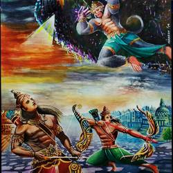 hanuman vs bharat, 11 x 16 inch, manash kalita,11x16inch,thick paper,religious paintings,paintings for living room,paintings for living room,watercolor,GAL02342135111