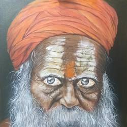 a sadhu at kumbh, 24 x 36 inch, shankha mitra,24x36inch,canvas,paintings,figurative paintings,portrait paintings,paintings for dining room,paintings for living room,paintings for office,paintings for hotel,acrylic color,GAL02246935112
