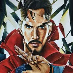 doctor strange with broken glass, 11 x 16 inch, manash kalita,11x16inch,thick paper,paintings,realistic paintings,paintings for kids room,watercolor,GAL02342135118