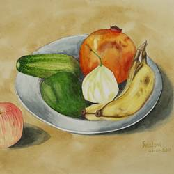 fruits 1, 14 x 11 inch, shraboni karan,14x11inch,cartridge paper,paintings,still life paintings,photorealism,realism paintings,realistic paintings,love paintings,baby paintings,children paintings,kids paintings,paintings for dining room,paintings for kids room,paintings for hotel,paintings for kitchen,paintings for school,paintings for hospital,watercolor,paper,GAL02335135129