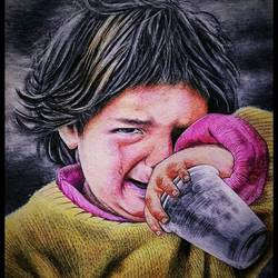 hungry child, 11 x 16 inch, manash kalita,11x16inch,thick paper,drawings,expressionism drawings,photorealism drawings,paintings for living room,pencil color,GAL02342135133