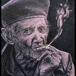 smoking expression, 11 x 16 inch, manash kalita,11x16inch,thick paper,drawings,expressionism drawings,paintings for living room,charcoal,GAL02342135134